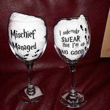 Harry Potter inspired wine glasses x2