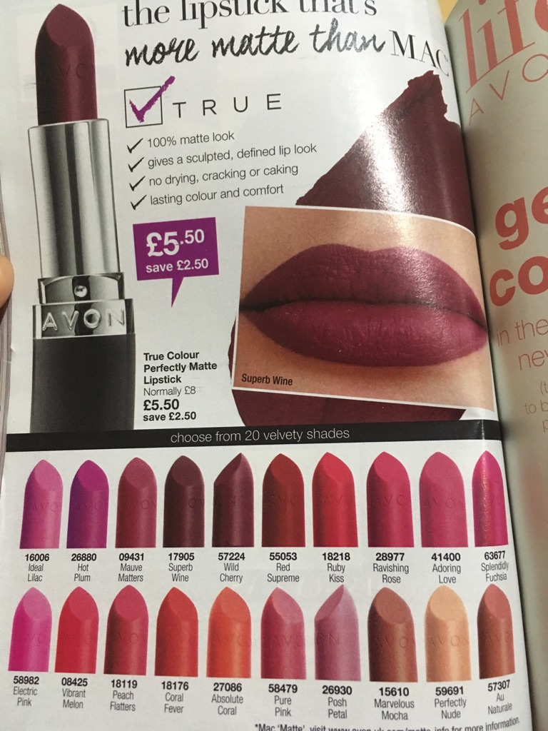 Avon perfectly Matte and Nourishing lipstick sames