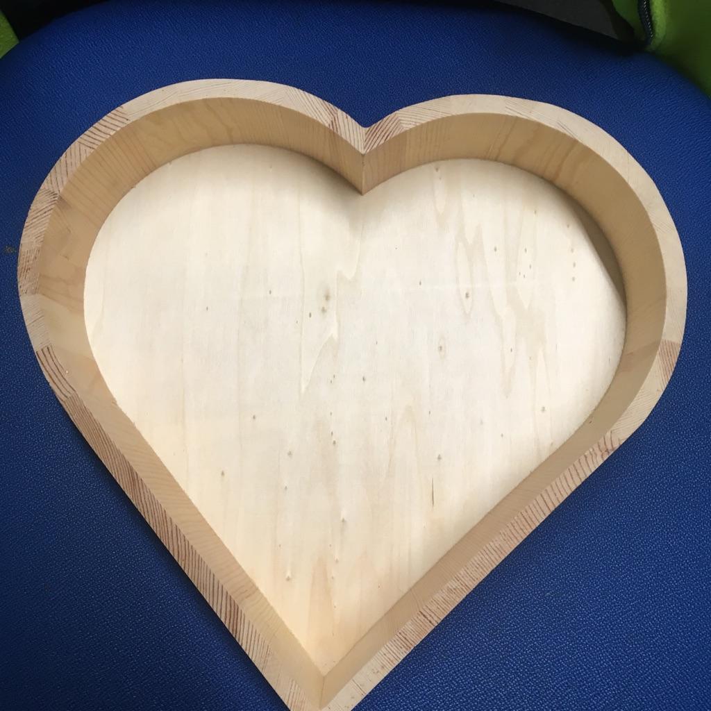 wooden heart shape tray