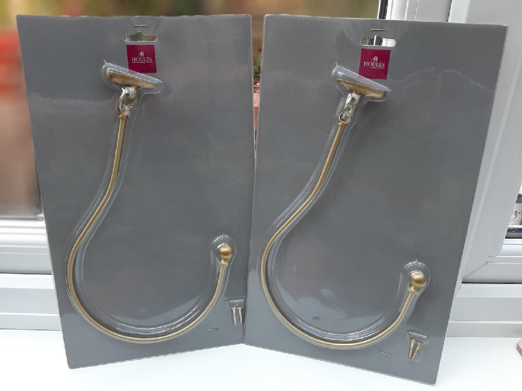 Wemyss Houles two brass swan-necked holdbacks for curtains