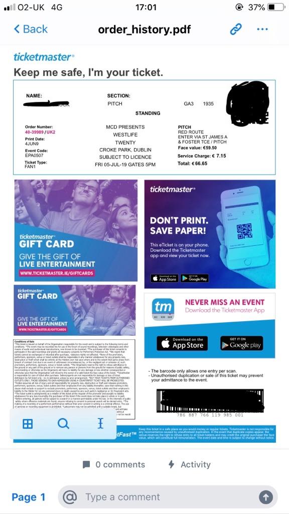 Westlife Tickets x2