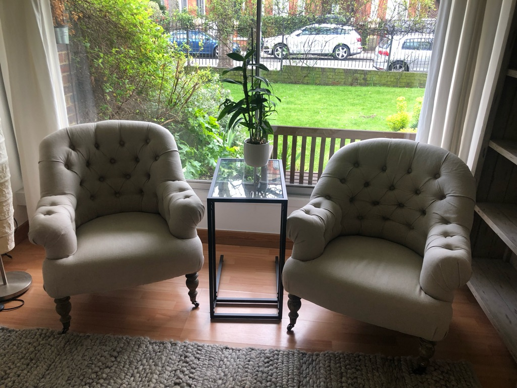 Upholstered Linen Armchairs (price negotiable)