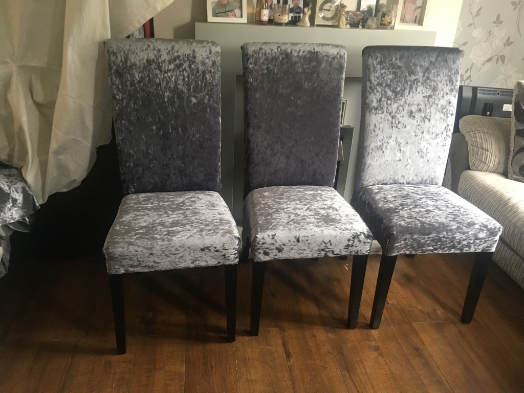 3 slate grey crushed velvet chairs