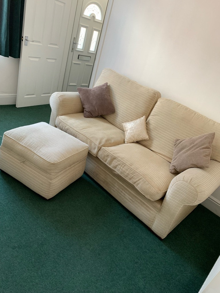 3 seater cream sofa with footstool