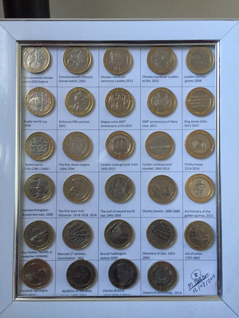 2 pound coins set of 29 mix coins
