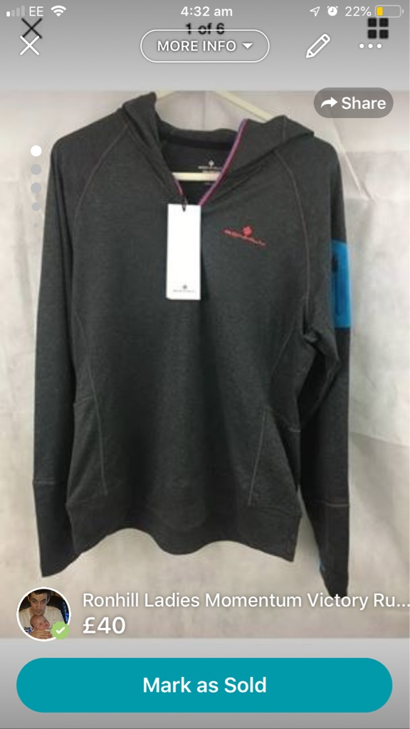 Ronhill Ladies Momentum Victory Running Hoodie Hooded Top Sweater Grey Size 14  Brand new RRP £60