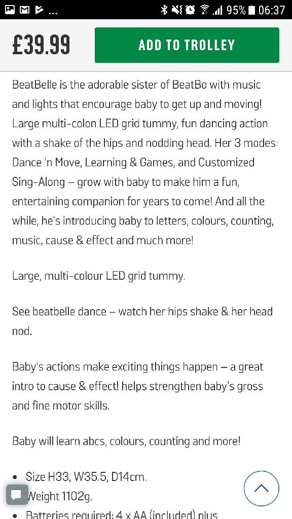 Fisher price dance and move beatbelle