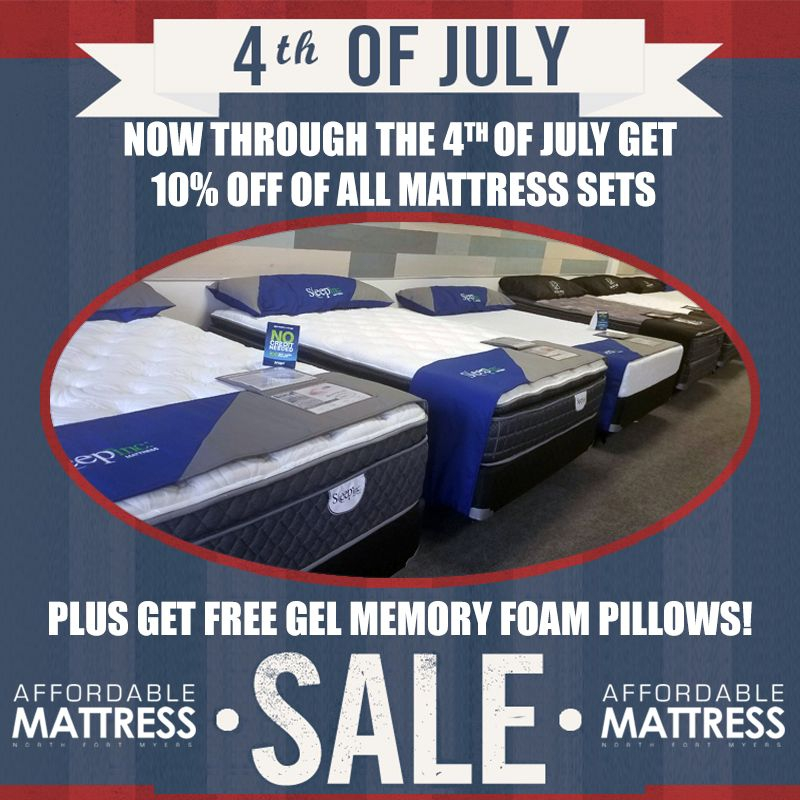 Mattress Sale through 4th of July! Plus free pillows with purchase!