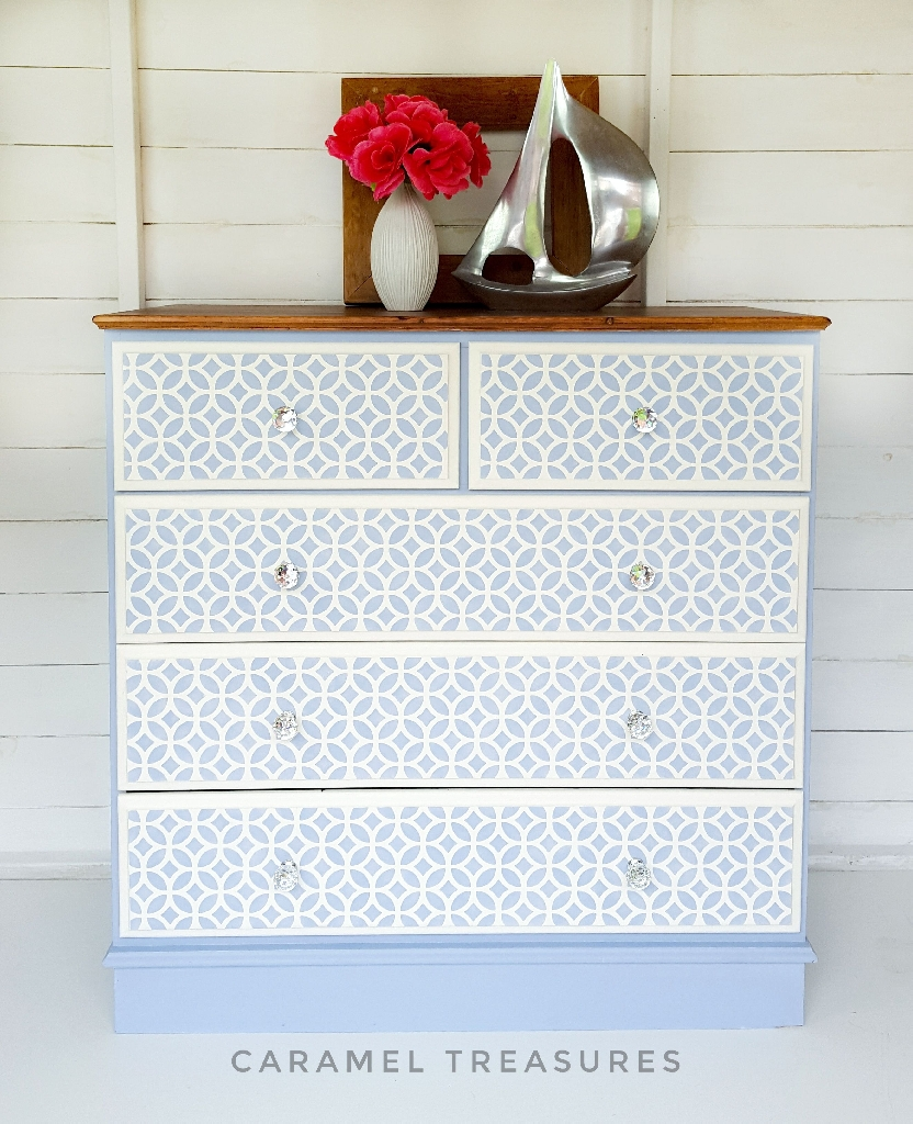 Baby blue ucpycled pine chest of drawers