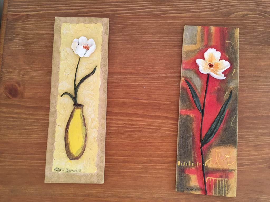Pair of Carol Robinson flower pictures