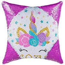 Unicorn sequin cushion cover