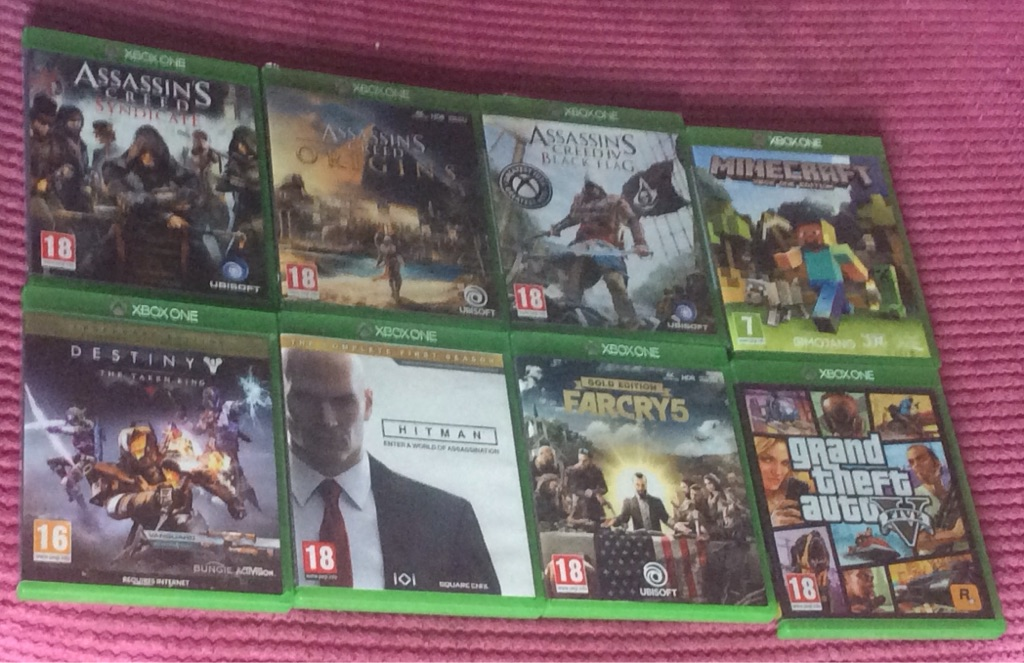 Xbox one games bundle farcry 5 gta v destiny legendary edition the taken king assassins creed + more