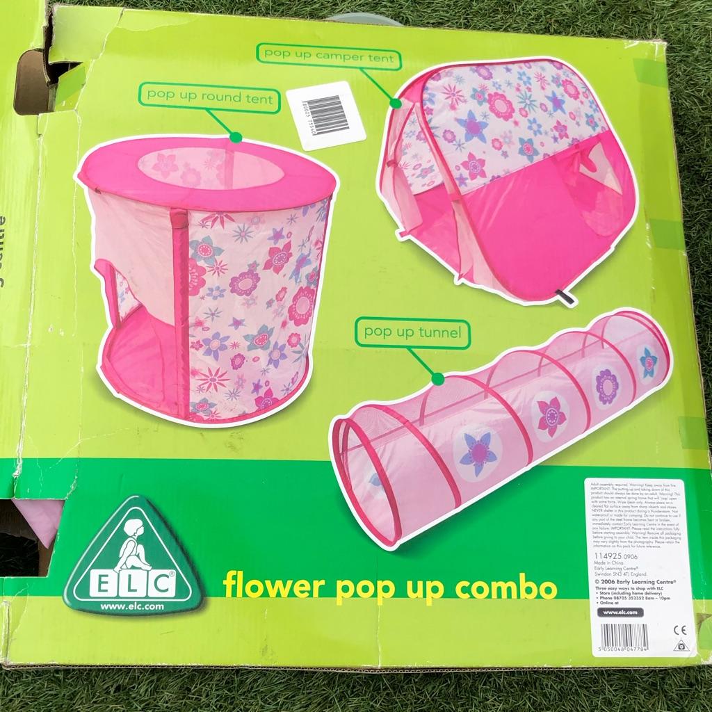 Girls flower pattern 3 piece pop up tent