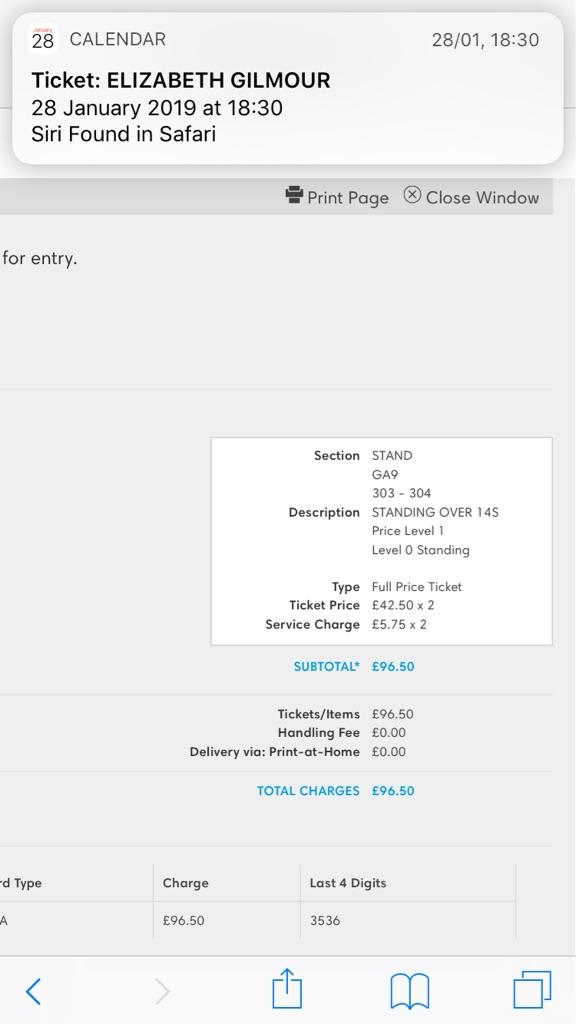 Massive Attack concert tickets x2
