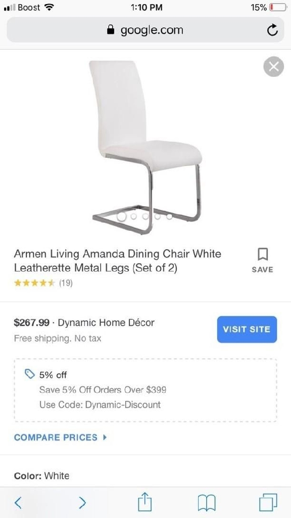 Set of 2 white leatherette metal leg chairs