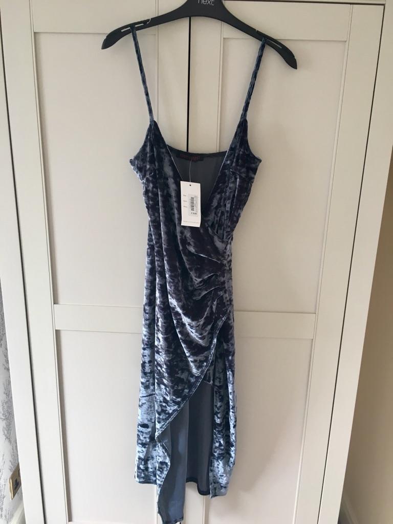 BNWT Silver velvet dress