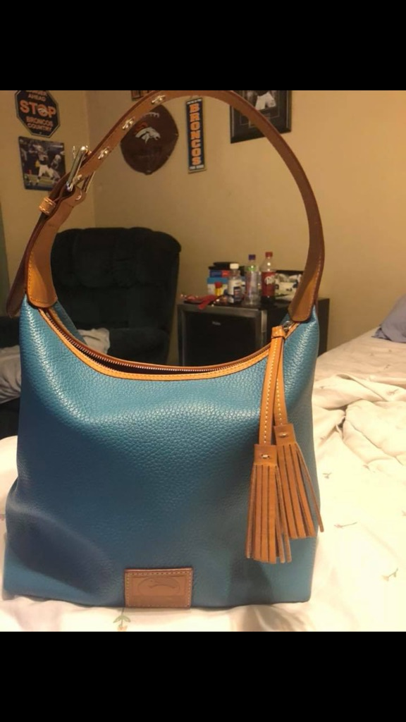 Authentic used teal leather Dooney and Burke handbag