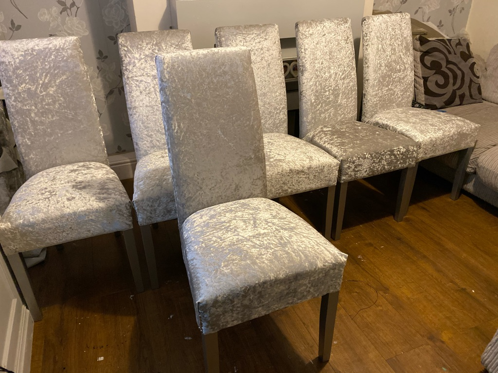 6 silver crushed velvet chairs