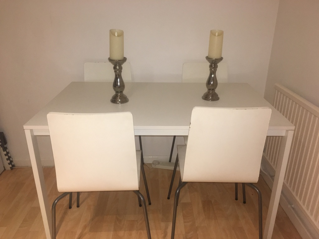 Ikea White Dining Table & 4 Chairs