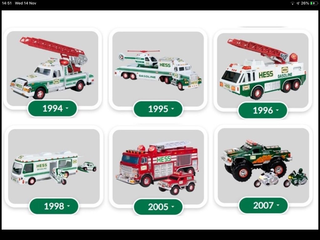 Hess Toy Trucks - 6 vintage trucks