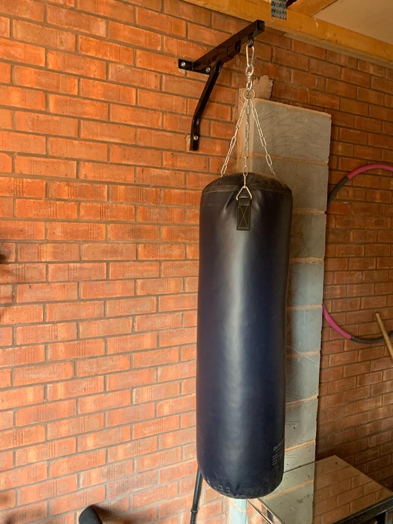 Boxing bag bracket and gloves