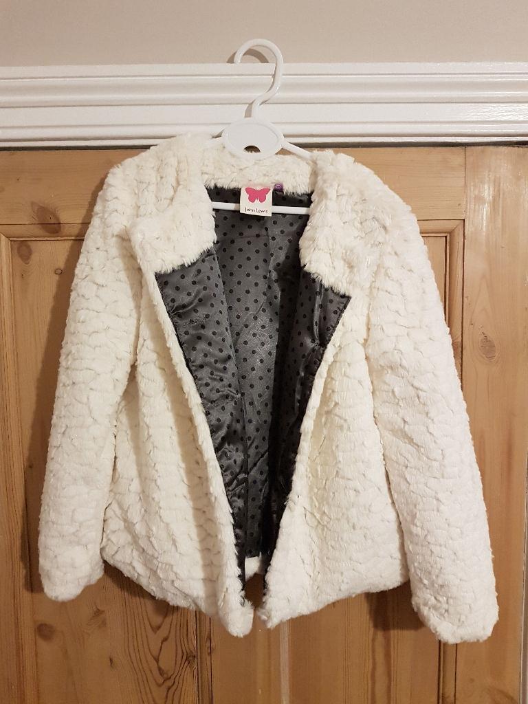 John Lewis Girls White Faux Fur Jacket