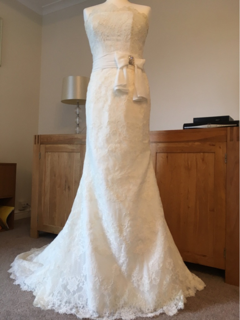 Justin Alexander Lace Wedding Dress Ivory Size 10
