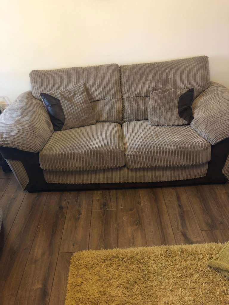 DFS Large 3 seater, large 2 seater cuddle chair and footstool