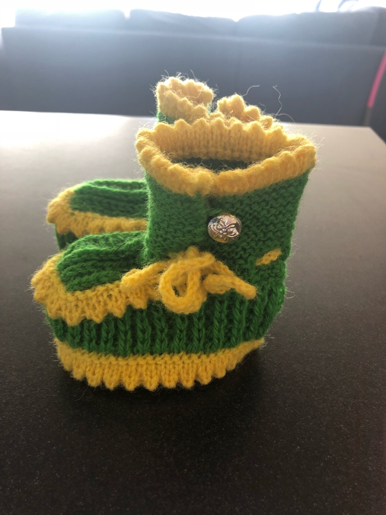 Hand knitted 100% baby wool booties