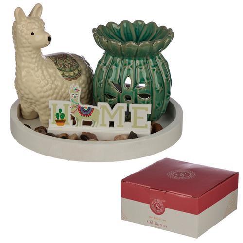 Eden aroma set- cactus oil burner & Llama ceramic figurine