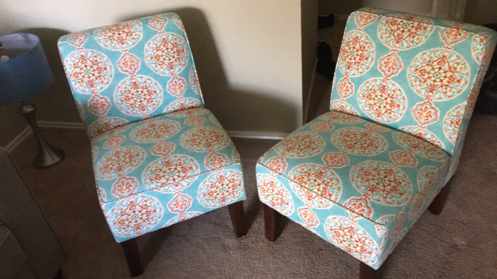 Blue and white floral padded chair * 2