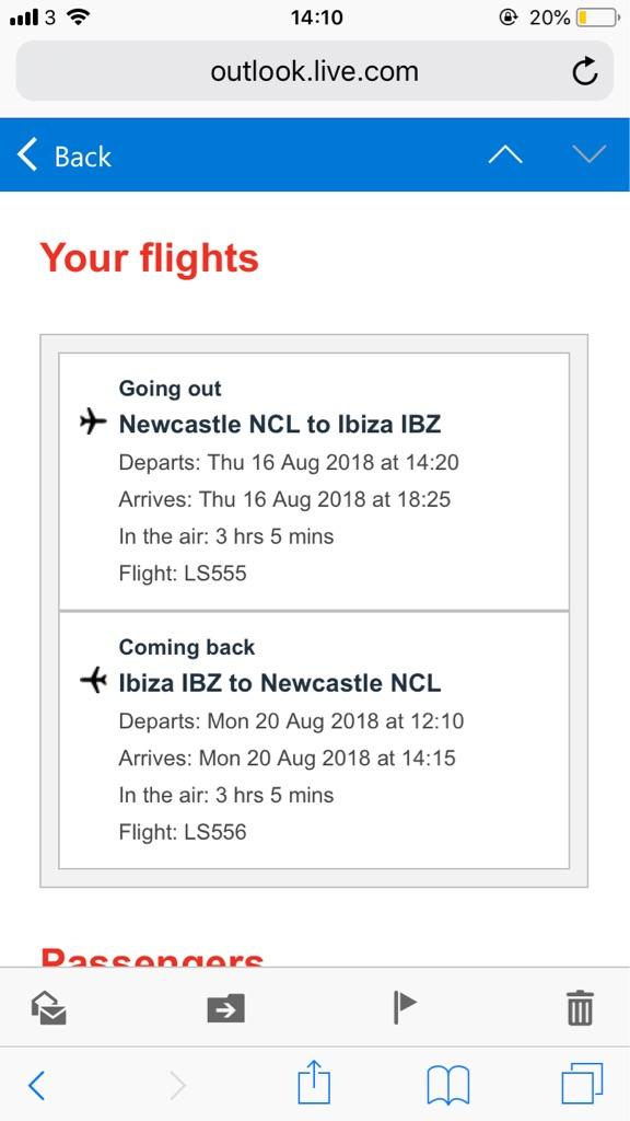 Flights Newcastle to Ibiza 2 adults