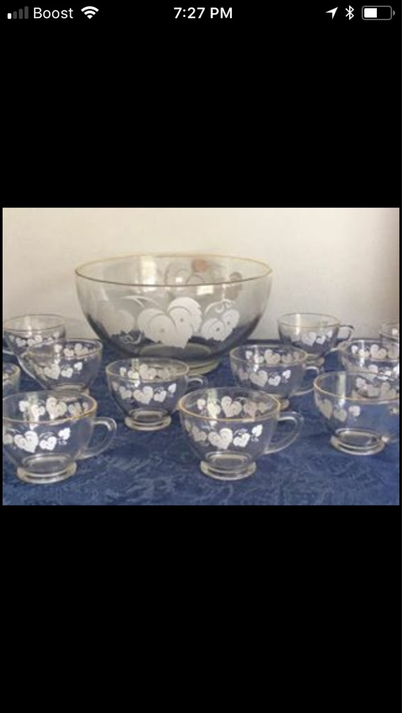 Vintage Glass /Gold Trimmed Punch Bowl, 10 Matching Punch Glasses