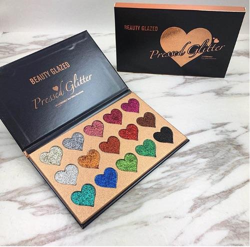 Beauty glazed 15 colours heart multi-purpose ultra pigmented pressed glitter palette