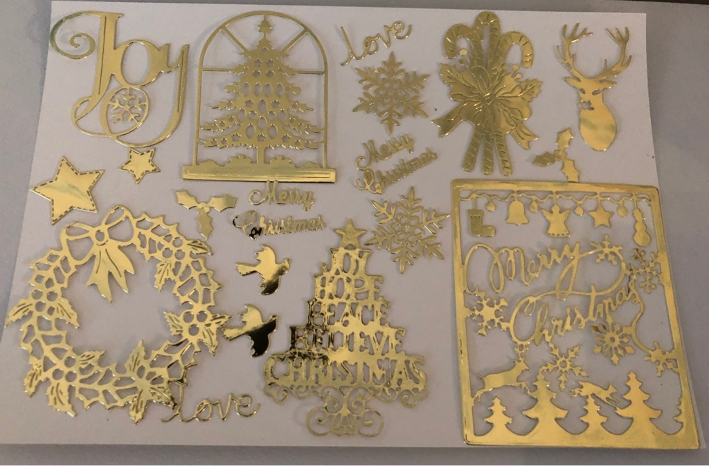 Christmas Die cut-outs in Gold or Silver for card making, crafts, embellishments (c)