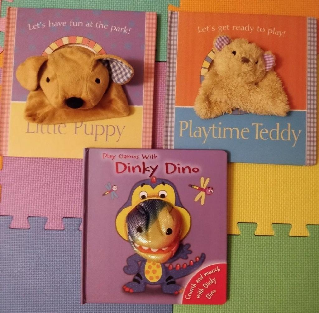 Little Puppy 🐶 Playtime Teddy 🐻 Dinky Dino 🦕 3x Puppet Children Books