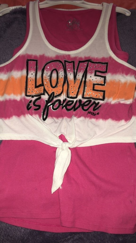 Justice pink love tank top