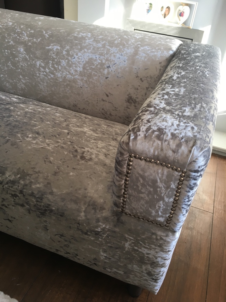 Silver Crushed velvet sofa