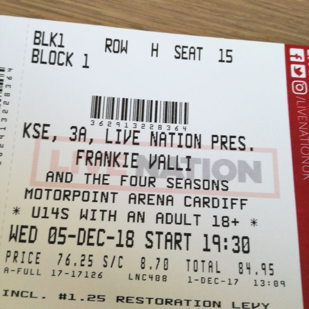 2 tickets to see Frankie Valli and four seasons