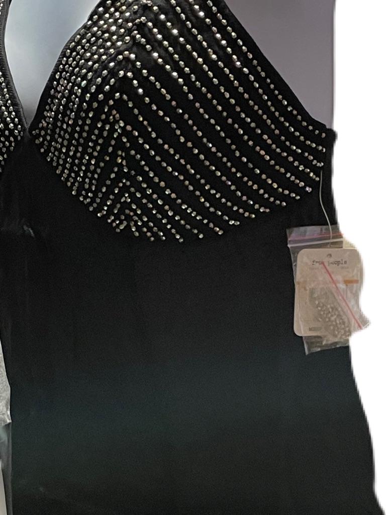 Free People Black Slip Shooting Star Mini Dress Size:Small