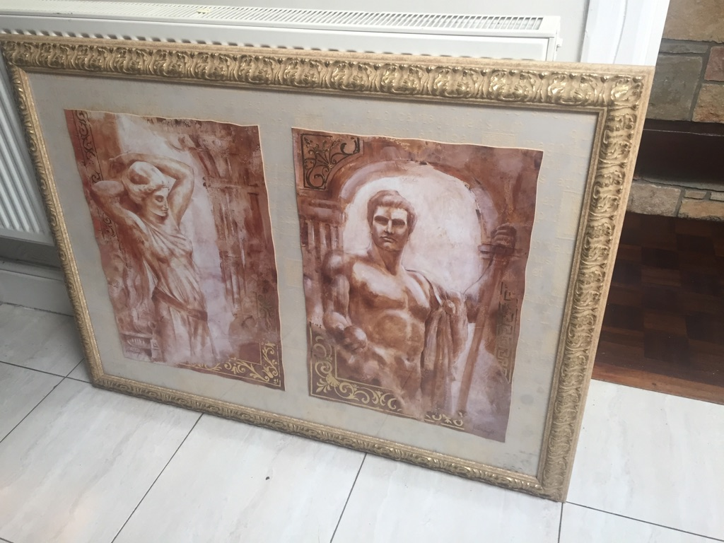Large gold framed roman picture