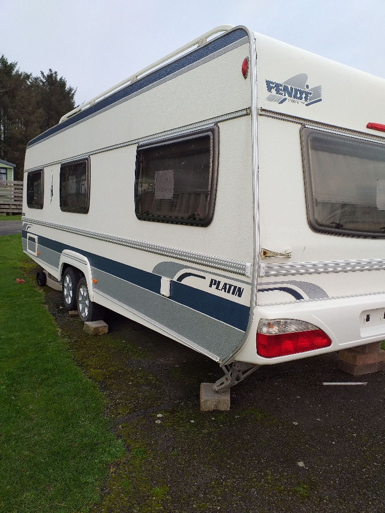 6 berth platin fendt 650 touring caravan fixed double bed based at Castle Douglas