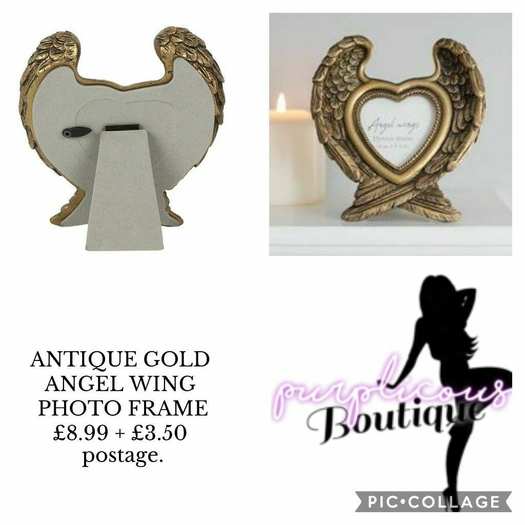 ANTIQUE GOLD ANGEL WING PHOTO FRAME