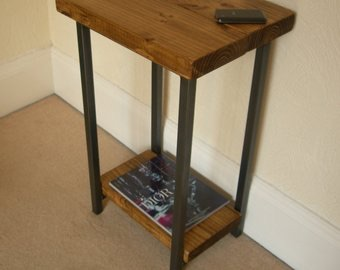 Rustic style wooden telephone table