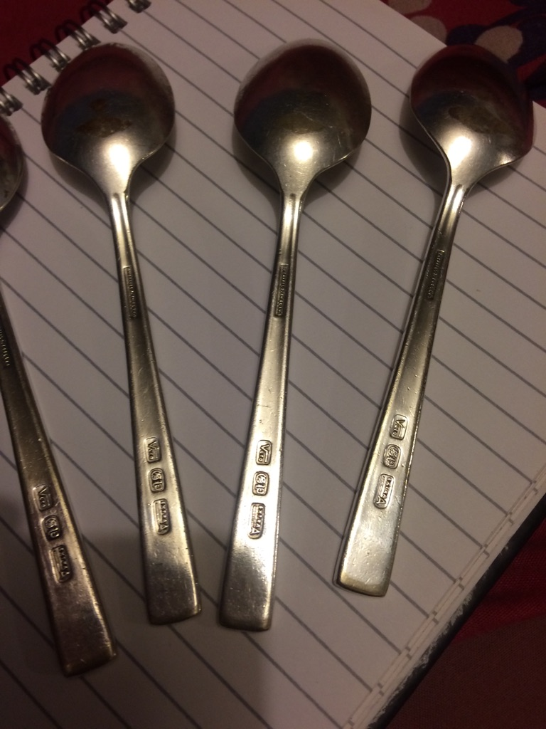 Four silver plated spoons