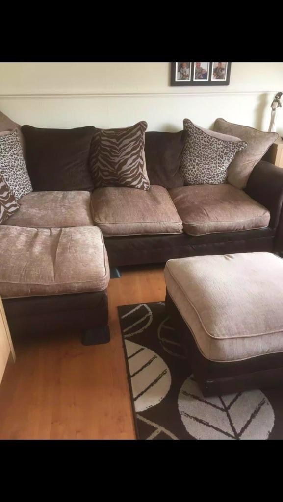Left hand corner sofa + footstool