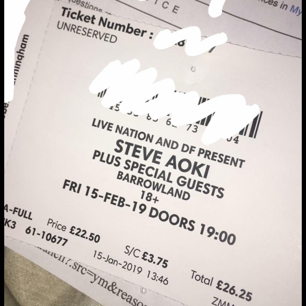 Steve Aoki Ticket, Glasgow