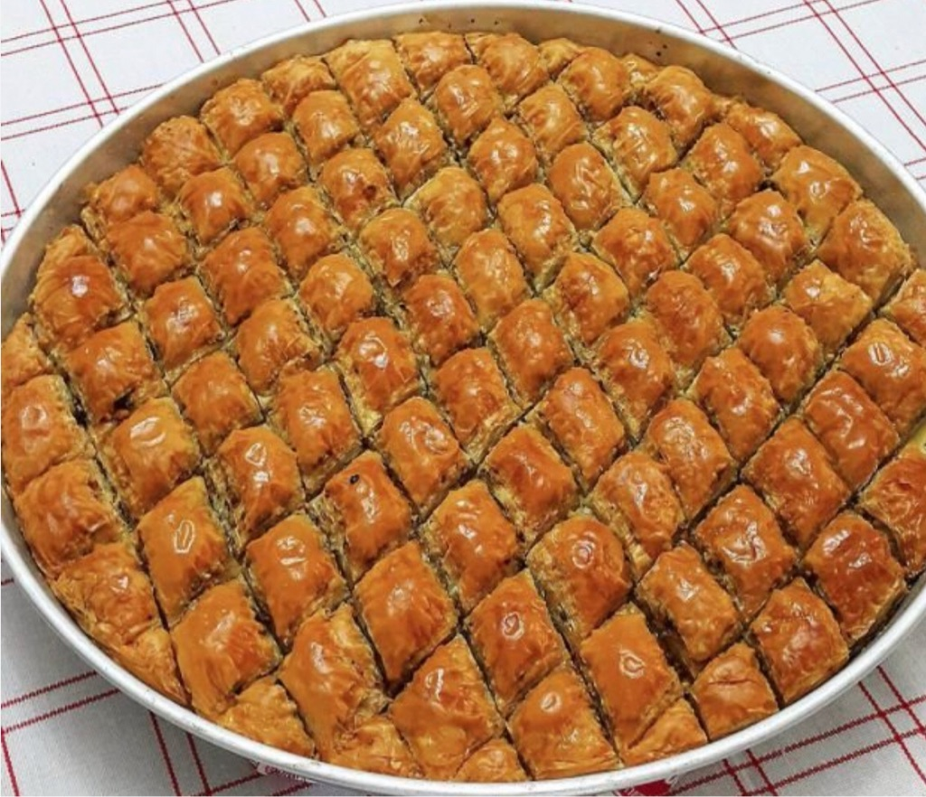 Turkish baklava with nut and chocolate (Nutella)