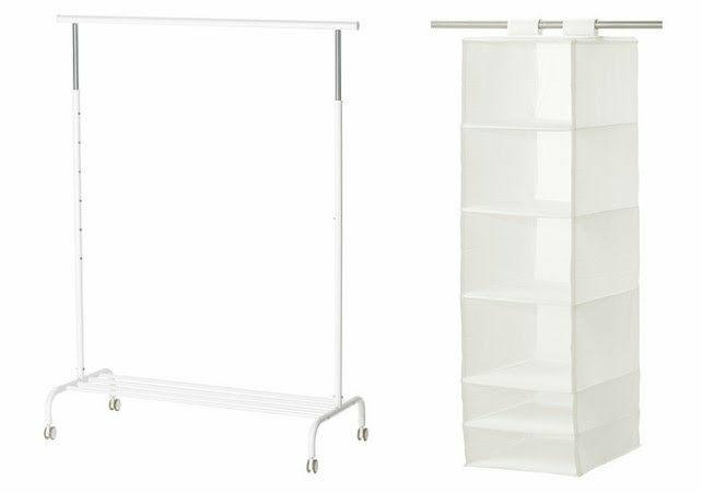 Clothes Racks x2, Hanging Shelves, shoe boxes x4