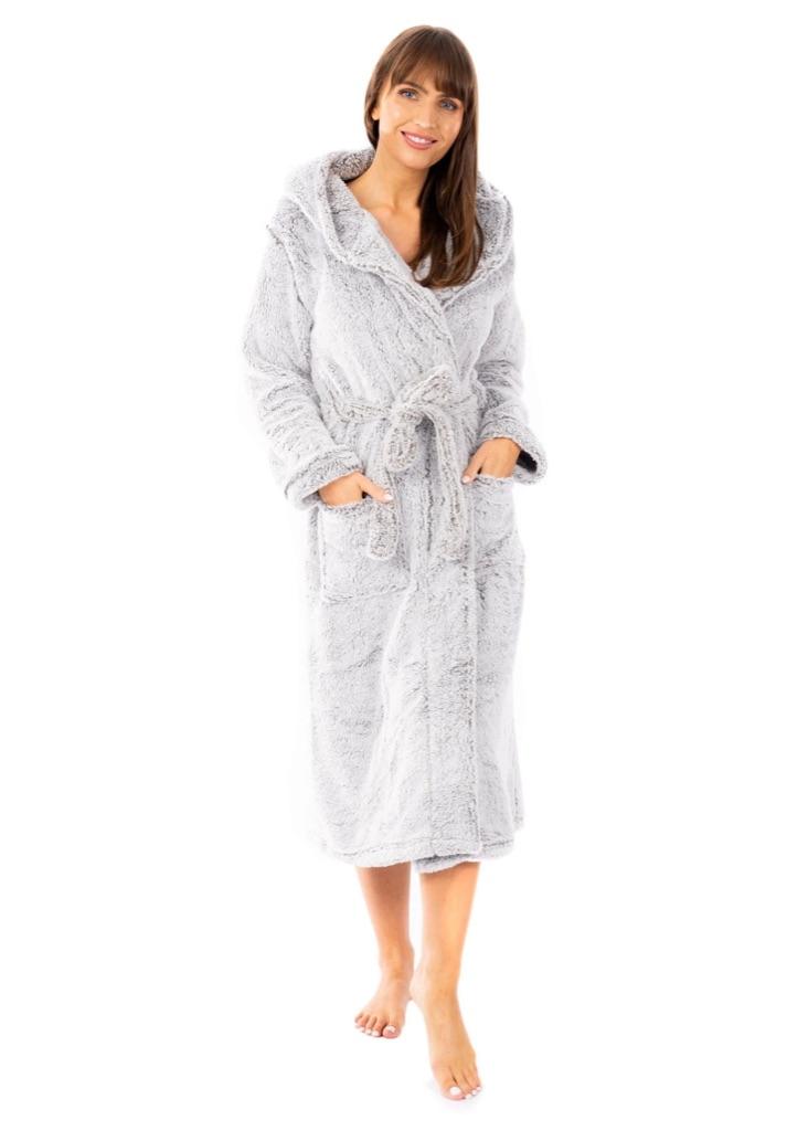 Shimmer Grey Snuggle Velvet Touch Fleece Hooded Robe Dressing Gown